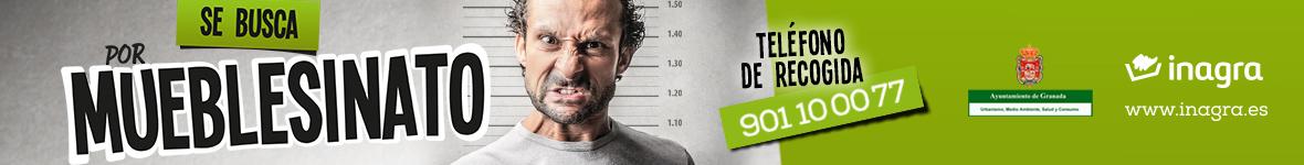 Si necesitas deshacerte de muebles o enseres viejos, llama antes al 901 10 00 77 o solicítalo en inagra.es y no cometas un... ¡MUEBLESINATO!
