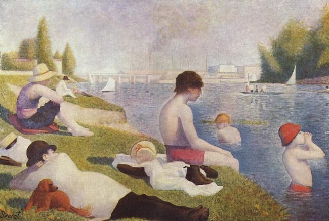 """""""Une baignade à Asnières (Bañistas en Asnieres)"""", de Georges Seurat."""