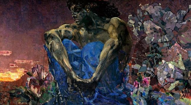 'The Demon Seated', por Mikhail Vrubel (1890).