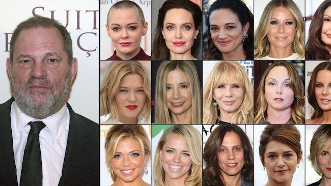 Harvey Weinstein y algunas de sus víctimas más famosas.