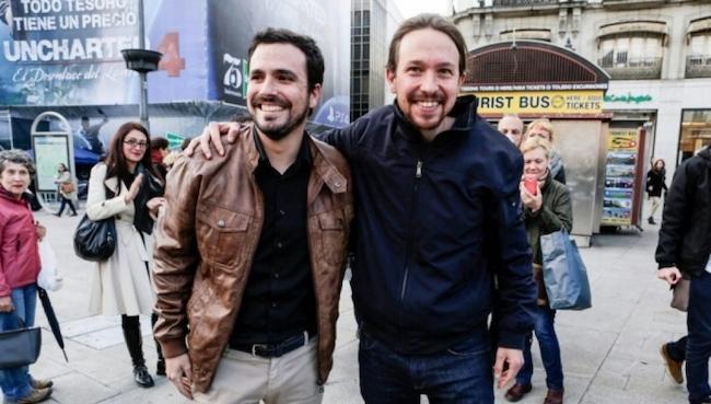 Alberto Garzón y Pablo Iglesias.