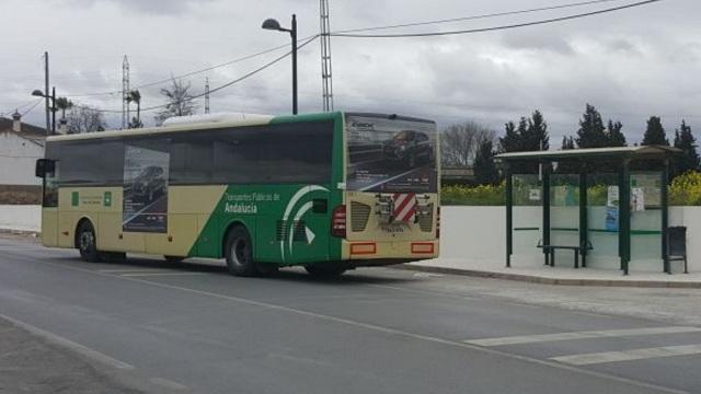 Autobús metropolitano en Cúllar Vega.