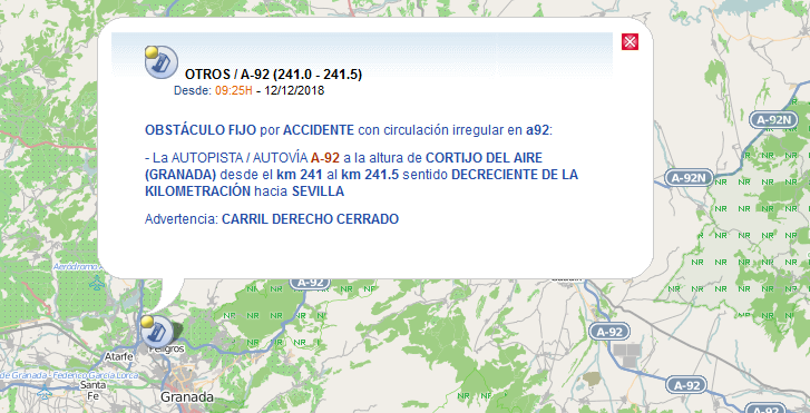 Información de la DGT sobre el accidente.