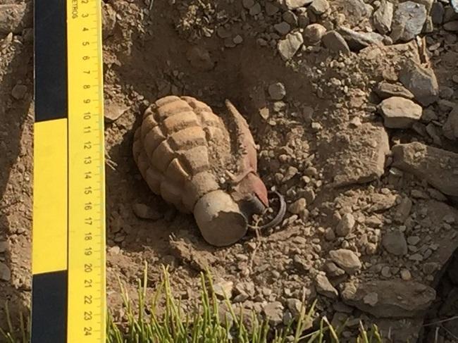 La granada hallada en Sierra Nevada.