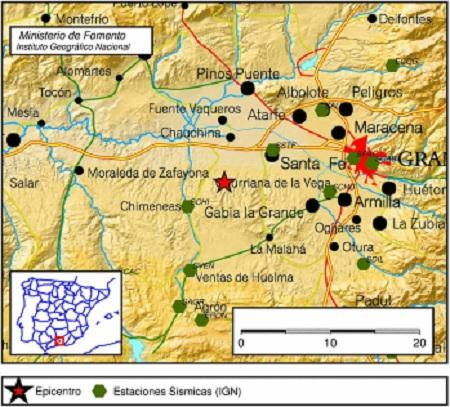 Cuadro de localización del seísmo en Chimeneas.