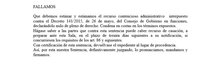 Detalle del fallo de la sentencia de la sección segunda de la Sala de lo Contencioso del TSJA.