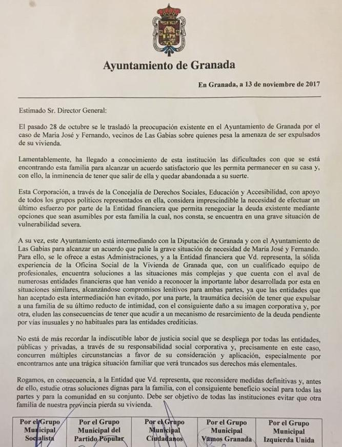 Escrito dirigido al director general de Caja Rural de Granada.