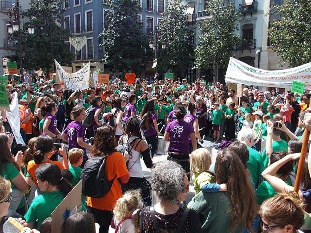 Un momento de la manifestación en la Plaza del Carmen.