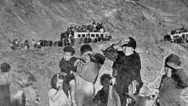 Una imagen de víctimas de La Desbandá, en su huída hacia Almería.