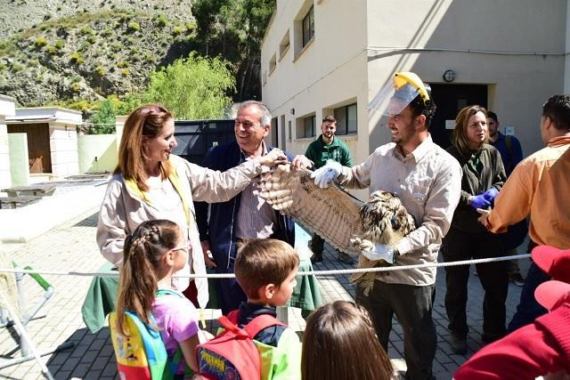 Escolares observan una de las aves recuperadas.