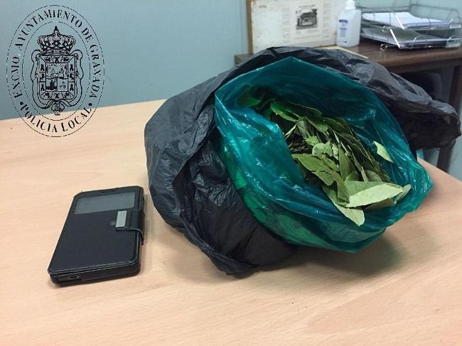 Bolsa con las hojas de coca que se le intervino al detenido.