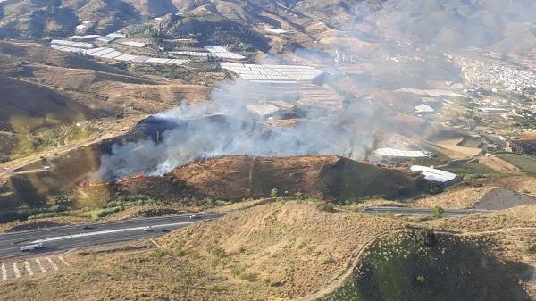 Vista aérea de la zona del incendio.