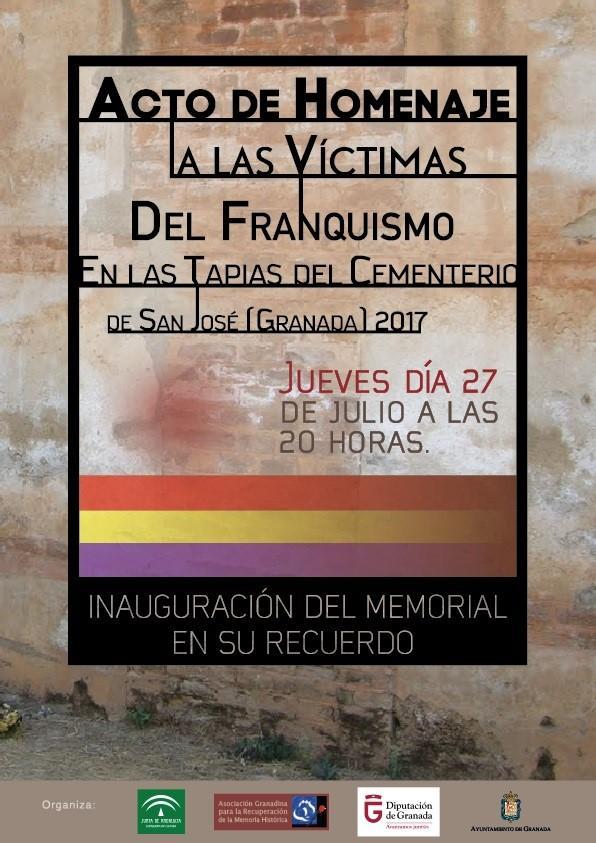Cartel del acto de inauguración del Memorial.