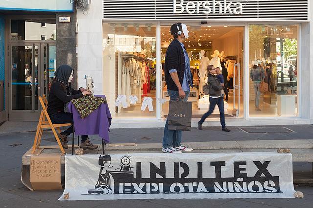 Una acción de protesta contra Inditex.