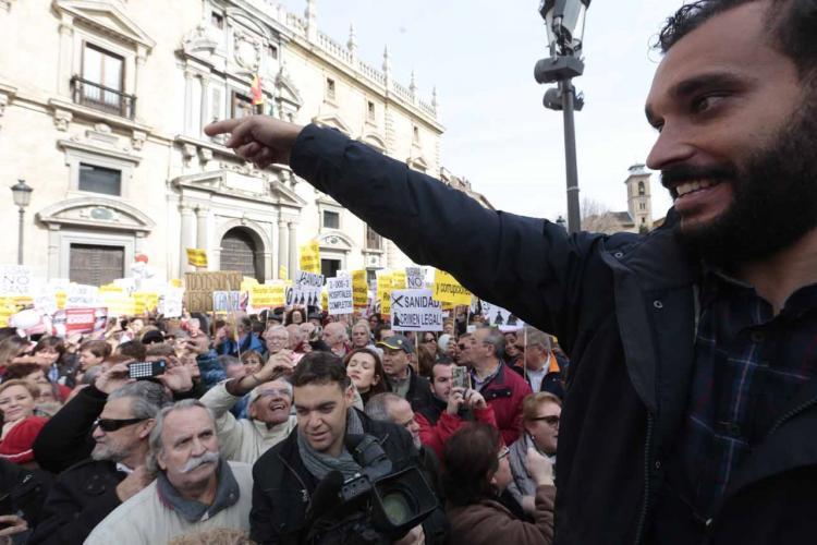 Jesús Candel este viernes en la concentración a las puertas del TSJA.