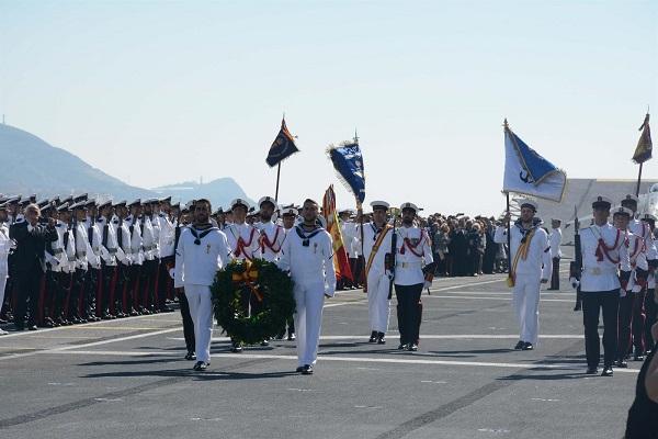 Imagen del acto celebrado este sábado en el portaaviones.