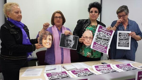 Las representantes de la Plataforma 8 de Marzo, este martes en la Casa de Mariana Pineda.