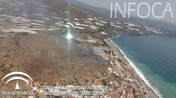 Imagen distribuida por el Infoca del lugar del incendio.