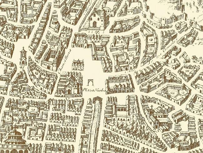 Horca situada en la Placeta de San Gil, donde fueron ajusticiados once de los participantes en el complot de 1705. PLATAFORMA DE VICO, 1611,