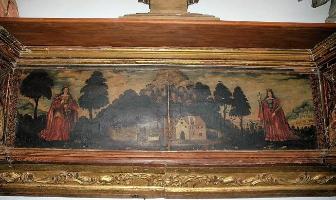 Tabla en la iglesia de Puebla de Don Fadrique que representa a las Santas, La Sagra, su Ermita y los dos pueblos en los extremos. También aparece el olivo milagroso chorreando aceite (a la izquierda).