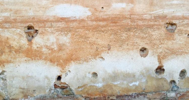 Detalle de la tapia del cementerio de Granada donde fueron asesinadas por el franquismo miles de personas.