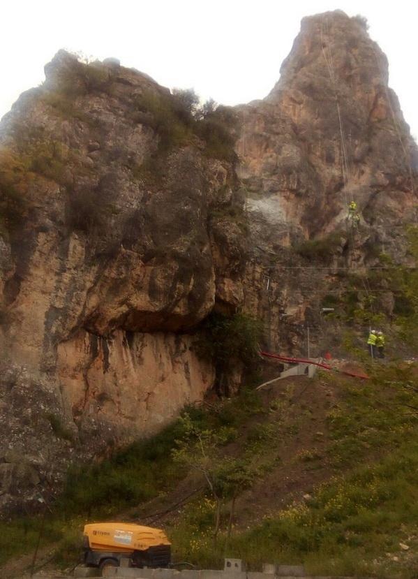 Trabajos este miércoles en Puente Quebrada, en el trazado del AVE.