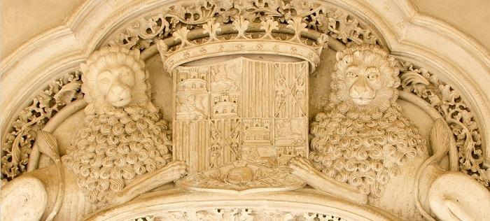 Escudo más antiguo de España con la granada incorporada. Salón de los Reyes de Zaragoza, 1492.