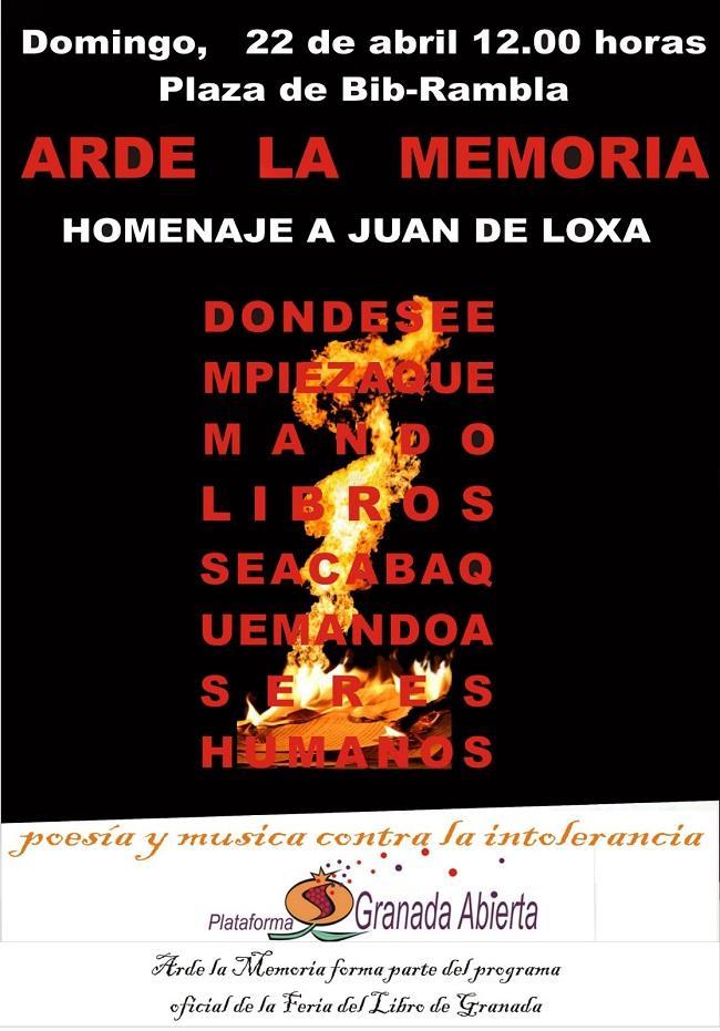 Arde la Memoria se celebra este domingo a las 12.00 horas en la Plaza Bib-Rambla.