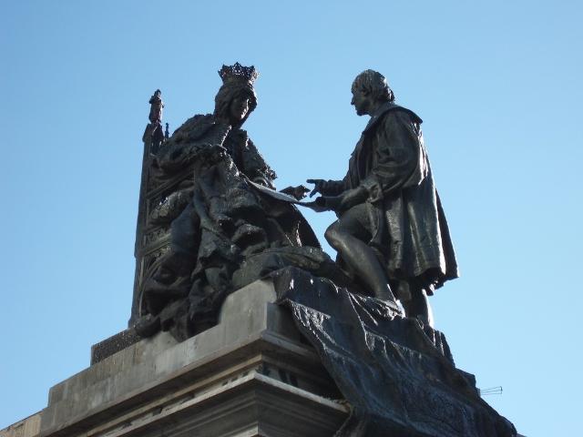 Monumento a Colón en la capital granadina.