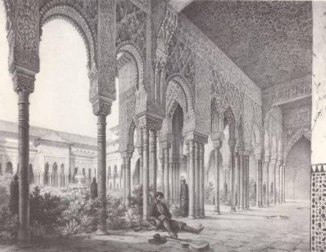 Grabado de una estancia de la Alhambra.