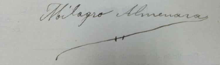 Firma de Milagro Almenara Pérez.