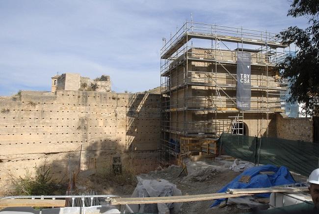 Vista de la intervención en la muralla zirí.