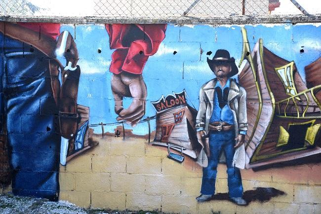 Uno de los grafitis que decoran la Ciudad Deportiva.