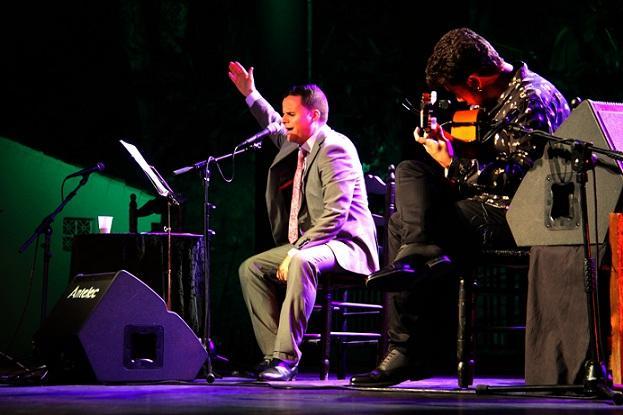 Juan Pinilla, durante su actuación de anoche.