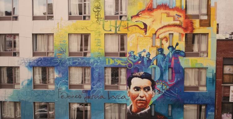 Detalle de una de las obras de la exposición que firma El Niño de las Pinturas en el Cuarto Real de Santo Domingo.