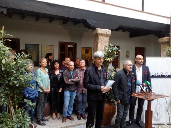 Los músicos, este viernes, en La Corrala de Santiago.