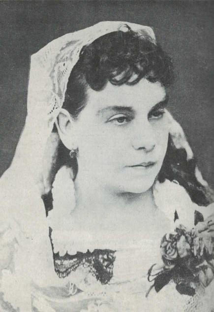 Retrato de Emilia Serrano enviada a José Zorrilla en 1854. Tenía veinte años.