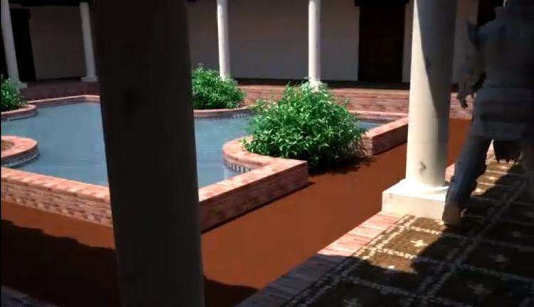 Reconstrucción del patio con exedra de la villa de los Mondragones, extraído de un vídeo inédito que te ofrecemos.