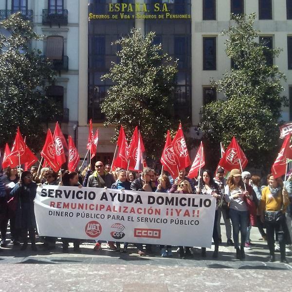Protesta en la Plaza del Carmen.