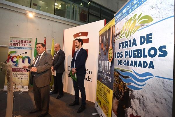 Entrena, en la presentación de la feria con Martín Arcos y Sánchez.