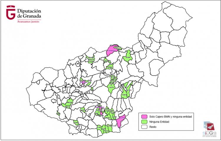 Mapa de la exclusión financiera en la provincia de Granada.