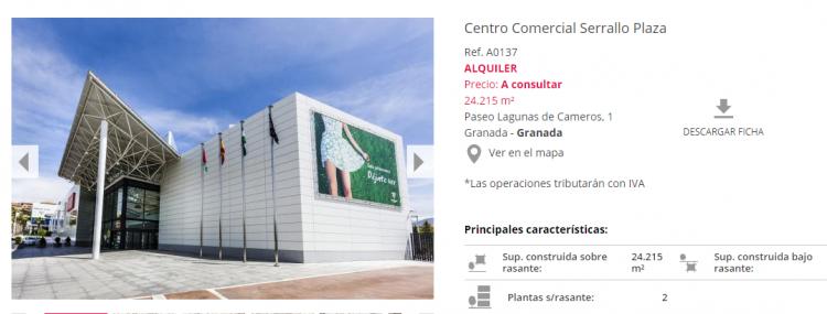 Ficha del Centro Comercial Serrallo en la página inmobiliaria.