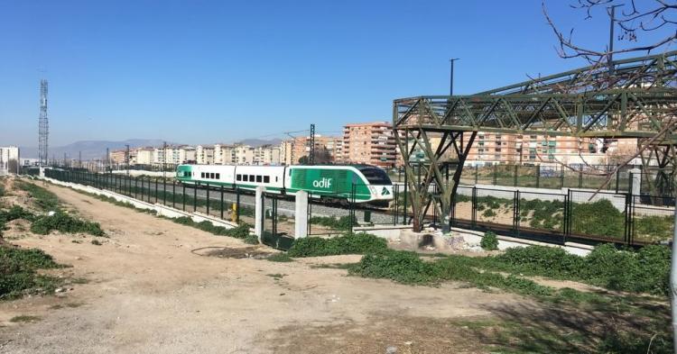 El tren laboratorio a su llegada a Granada.