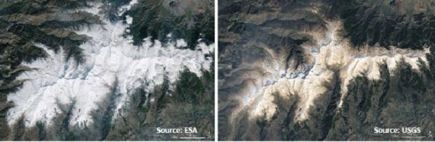 Imágenes de satélite de Sierra Nevada, a la derecha tras la intrusión de polvo sahariano en febrero de 2017.