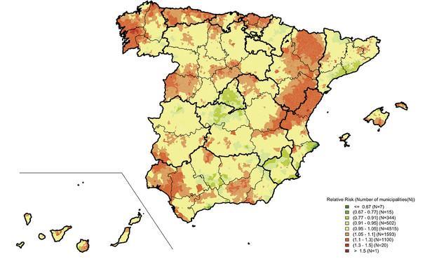 Mortalidad por cáncer de próstata en España. En rojo, las zonas más afectadas; y en verde, las que menos.