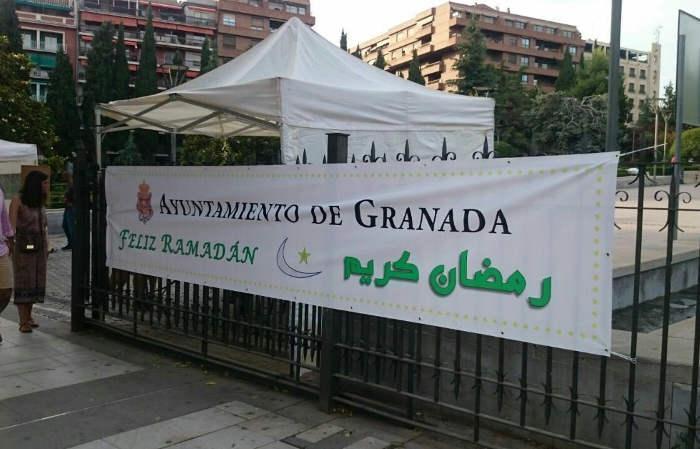 Pancarta con el acto del pasado sábado.