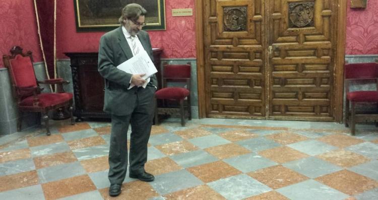 Baldomero Oliver tras la junta de portavoces de este jueves.