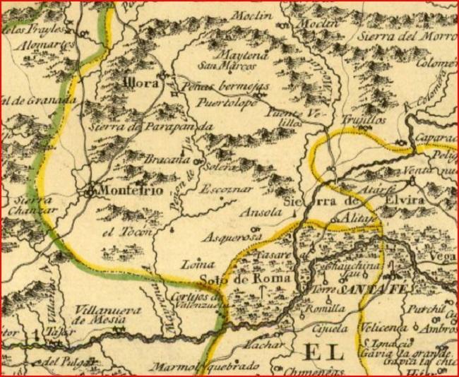 Mapa histórico del Poniente granadino.