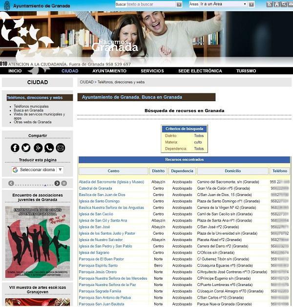 Captura de pantalla con el listado de parroquias.