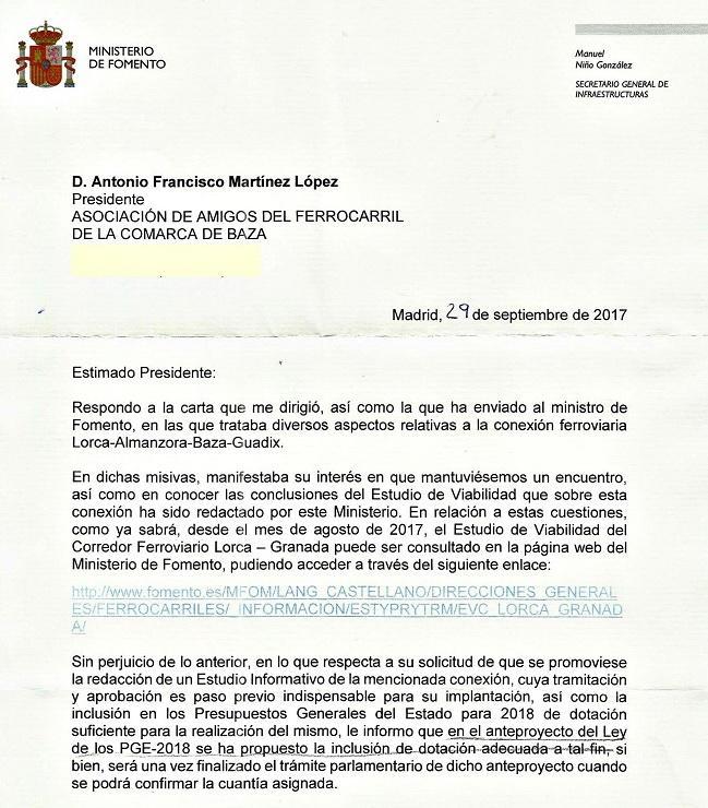 Carta remitida por Fomento.